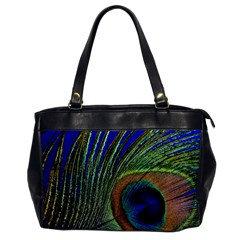 Peacock Feather Macro Peacock Bird Oversize Office Handbag