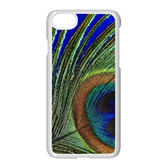 Peacock Feather Macro Peacock Bird Apple Iphone 7 Seamless Case (white) by Simbadda