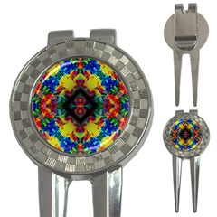 Kaleidoscope Art Pattern Ornament 3 In 1 Golf Divots