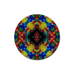 Kaleidoscope Art Pattern Ornament Rubber Round Coaster (4 Pack)