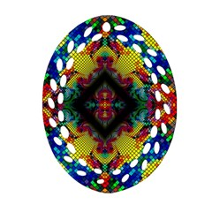 Kaleidoscope Art Pattern Ornament Oval Filigree Ornament (two Sides)