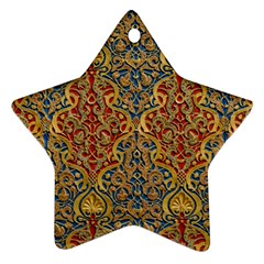 Wall Texture Pattern Carved Wood Star Ornament (two Sides)