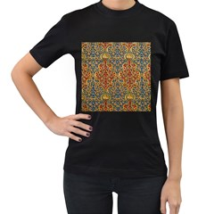 Wall Texture Pattern Carved Wood Women s T-shirt (black)