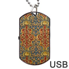 Wall Texture Pattern Carved Wood Dog Tag Usb Flash (two Sides) by Simbadda