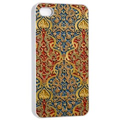 Wall Texture Pattern Carved Wood Apple Iphone 4/4s Seamless Case (white)