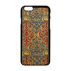 Wall Texture Pattern Carved Wood Apple Iphone 6/6s Black Enamel Case