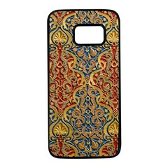 Wall Texture Pattern Carved Wood Samsung Galaxy S7 Black Seamless Case