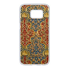 Wall Texture Pattern Carved Wood Samsung Galaxy S7 Edge White Seamless Case