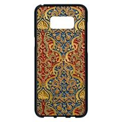 Wall Texture Pattern Carved Wood Samsung Galaxy S8 Plus Black Seamless Case