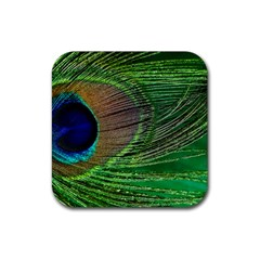 Peacock Feather Macro Peacock Bird Rubber Square Coaster (4 Pack)