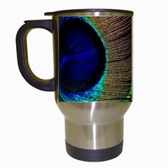 Peacock Feather Macro Peacock Bird Travel Mugs (white) by Simbadda