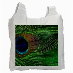 Peacock Feather Macro Peacock Bird Recycle Bag (one Side) by Simbadda