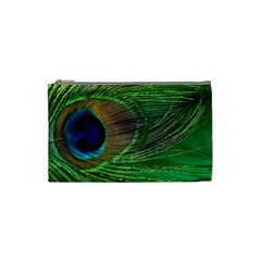 Peacock Feather Macro Peacock Bird Cosmetic Bag (small)