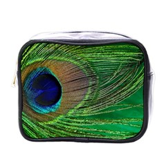 Peacock Feather Macro Peacock Bird Mini Toiletries Bag (one Side)