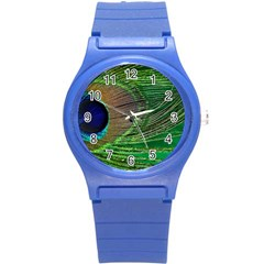 Peacock Feather Macro Peacock Bird Round Plastic Sport Watch (s)