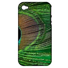 Peacock Feather Macro Peacock Bird Apple Iphone 4/4s Hardshell Case (pc+silicone)