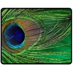 Peacock Feather Macro Peacock Bird Double Sided Fleece Blanket (medium)