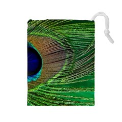 Peacock Feather Macro Peacock Bird Drawstring Pouch (large)