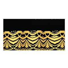 Black Vintage Background With Golden Swirls By Flipstylez Designs Satin Shawl
