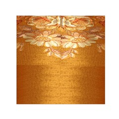 Golden Sunrise Pattern Flowers By Flipstylez Designs Small Satin Scarf (square) by flipstylezdes
