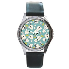 Cute Kawaii Popcorn Pattern Round Metal Watch