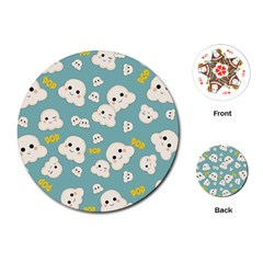 Cute Kawaii Popcorn Pattern Playing Cards (round) by Valentinaart