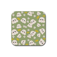 Cute Kawaii Popcorn Pattern Rubber Coaster (square)  by Valentinaart