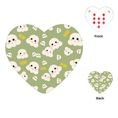 Cute Kawaii Popcorn Pattern Playing Cards (heart) by Valentinaart