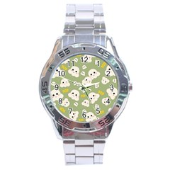 Cute Kawaii Popcorn Pattern Stainless Steel Analogue Watch by Valentinaart