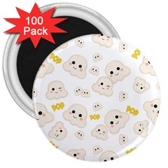 Cute Kawaii Popcorn Pattern 3  Magnets (100 Pack)