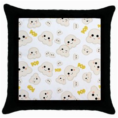 Cute Kawaii Popcorn Pattern Throw Pillow Case (black) by Valentinaart