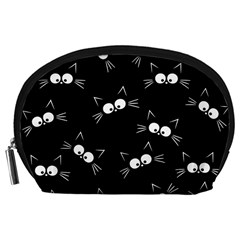 Cute Black Cat Pattern Accessory Pouch (large)