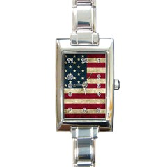 Vintage American Flag Rectangle Italian Charm Watch