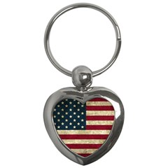 Vintage American Flag Key Chains (heart)  by Valentinaart