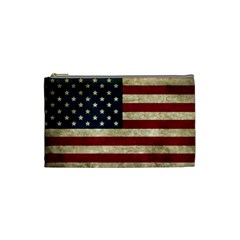 Vintage American Flag Cosmetic Bag (small) by Valentinaart