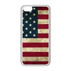Vintage American Flag Apple Iphone 5c Seamless Case (white) by Valentinaart
