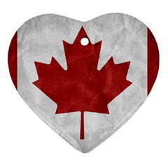 Canada Grunge Flag Heart Ornament (two Sides) by Valentinaart
