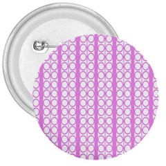 Circles Lines Light Pink White Pattern 3  Buttons
