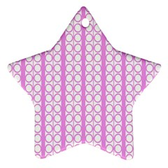 Circles Lines Light Pink White Pattern Ornament (star)