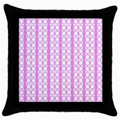 Circles Lines Light Pink White Pattern Throw Pillow Case (black)