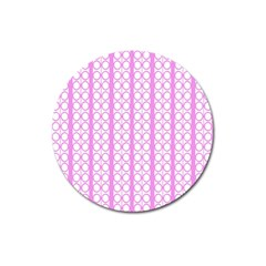 Circles Lines Light Pink White Pattern Magnet 3  (round) by BrightVibesDesign