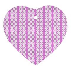 Circles Lines Light Pink White Pattern Heart Ornament (two Sides) by BrightVibesDesign