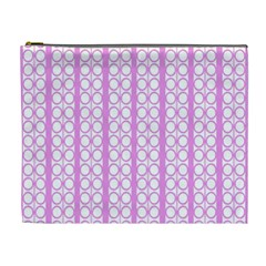 Circles Lines Light Pink White Pattern Cosmetic Bag (xl)