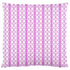 Circles Lines Light Pink White Pattern Large Flano Cushion Case (one Side)