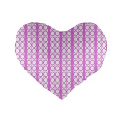 Circles Lines Light Pink White Pattern Standard 16  Premium Flano Heart Shape Cushions