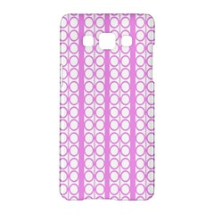 Circles Lines Light Pink White Pattern Samsung Galaxy A5 Hardshell Case  by BrightVibesDesign