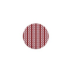 Circles Lines Red White Pattern 1  Mini Magnets by BrightVibesDesign