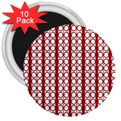 Circles Lines Red White Pattern 3  Magnets (10 Pack)  by BrightVibesDesign