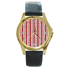 Circles Lines Red White Pattern Round Gold Metal Watch by BrightVibesDesign