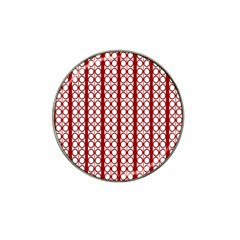 Circles Lines Red White Pattern Hat Clip Ball Marker by BrightVibesDesign